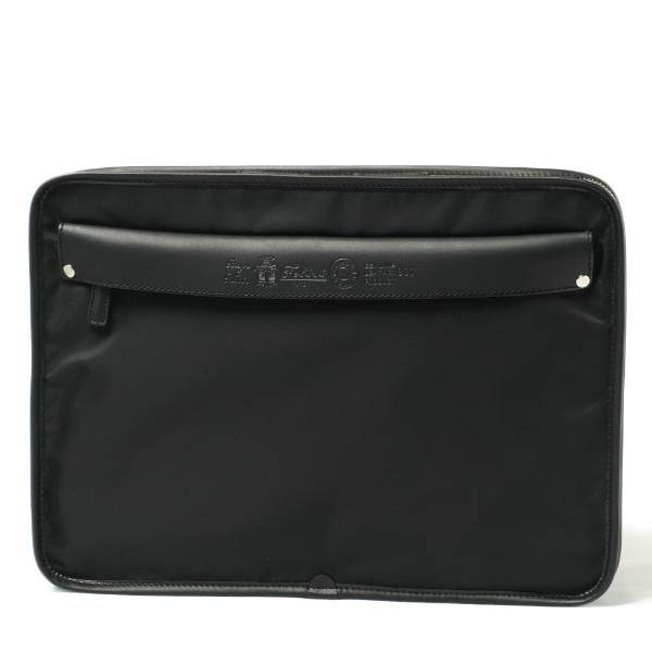 フェリージ / Felisi /  A4サイズ 薄マチ クラッチバッグ ナイロン × バケッタレザー 907/DS / ブラック BLACK 907ds-black