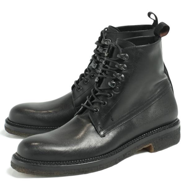 DE MARCHI デマルキ マッケイ製法 クレープソール レースアップ ブーツ 革靴 ブラック D43018-BL 100 【返品不可】