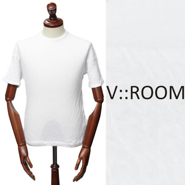 V::ROOM / ヴイルーム / 【オールシーズンOK】 / シワ加工 / クルーネック / ストレッチ / カットソー / ホワイト mvr18a8030-w 100