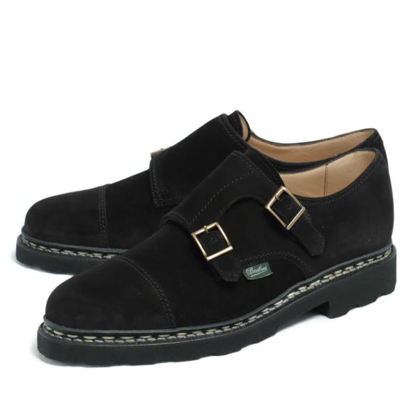 パラブーツ / Paraboot / WILLIAM - ウィリアム スエード ダブルモンクストラップ シューズ 革靴 981447 / ブラック Vel Noir 981447-bl 100