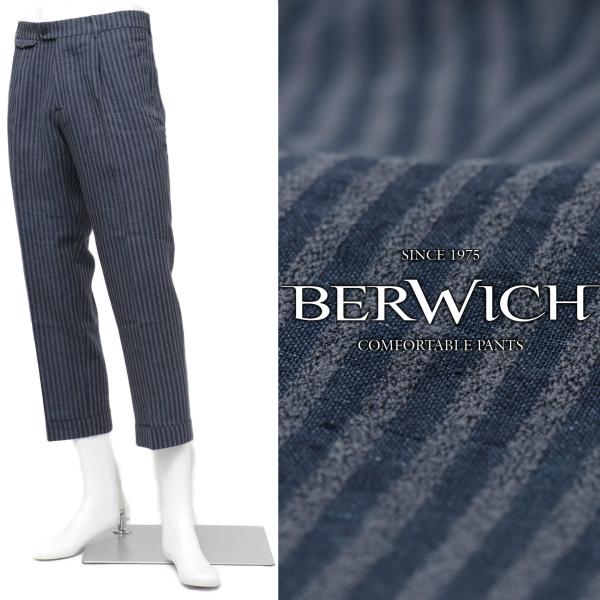 ベルウィッチ / BERWICH / GRAPPA / リネンコットン / 1プリーツ / クロップド / ストライプ / ワイドパンツ / LM155 / ネイビー BLUE grappalm155b-nac