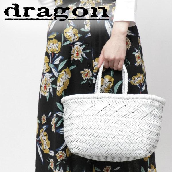 Dragon Diffusion / ドラゴンディフュージョン / 8811 / BAMBOO TRIPLE JUMP SMALL doragon / イントレチャート / レザー / メッシュ / トートバッグ 小 / ホワイト dg8811p-w