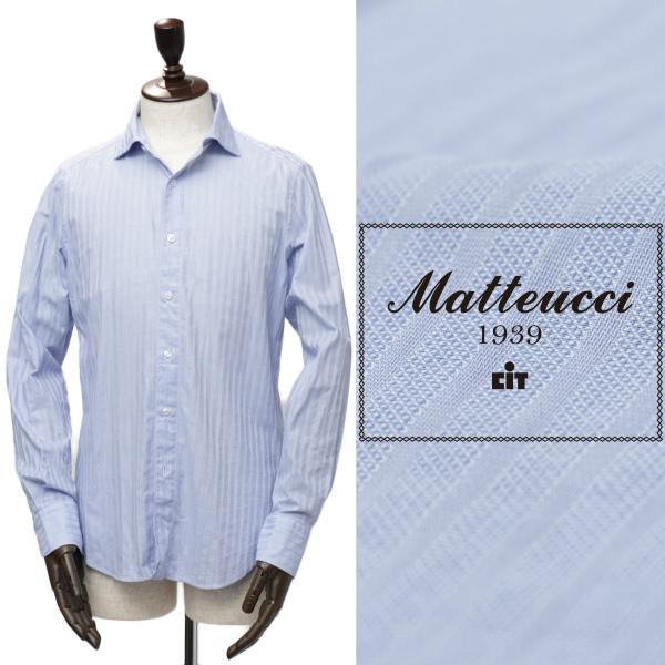 Matteucci / マテウッチ /GVEGAS オープンカラー ドビーストライプ コットン シャツ / ブルー【送料無料】gvegas-bu