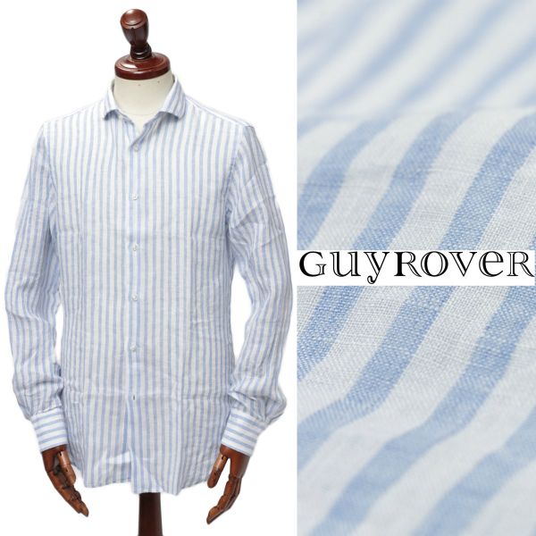 GUY ROVER / ギ ローバー /リネン ストライプ シャツ W2760L / ホワイト × ブルー【送料無料】w2760c-buc 100