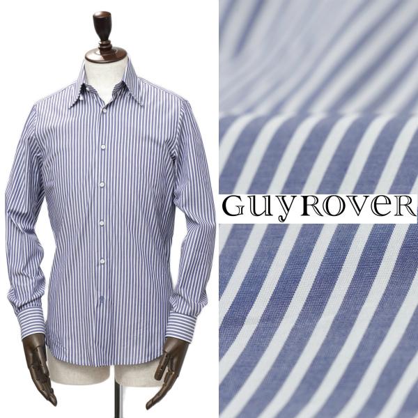 GUY ROVER / ギ ローバー /ロンドンストライプ タブカラー コットン シャツ / ブルー × ホワイト【送料無料】w2800-buc 100