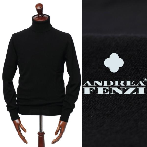 ANDREA FENZI / アンドレアフェンツィ /D7101 D01 ミドルゲージ ウール タートルネック ニット / ブラック【送料無料】 /65400-bl 100 【返品不可】
