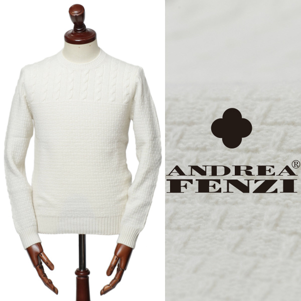 ANDREA FENZI / アンドレアフェンツィ /D7125 G01 ミドルゲージ ケーブル編み 切り返し ウール クルーネック ニット / ホワイト【送料無料】 /65402-w 100 【返品不可】