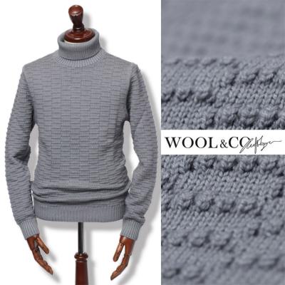 WOOL&CO / ウールアンドコー / ウール タートルネック ニット/ グレー / wo0016-gy 100 【返品不可】