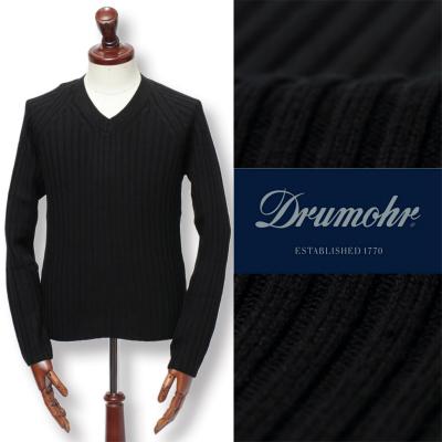Drumohr / ドルモア / ミドルゲージ スーパーファインメリノウール リブ編み Vネック ニット セーター / ブラック / d7m483sb-bl