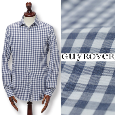 GUY ROVER / ギ ローバー / コットン ギンガムチェック カジュアルシャツ / ブルー × ホワイト / w2510l-buc