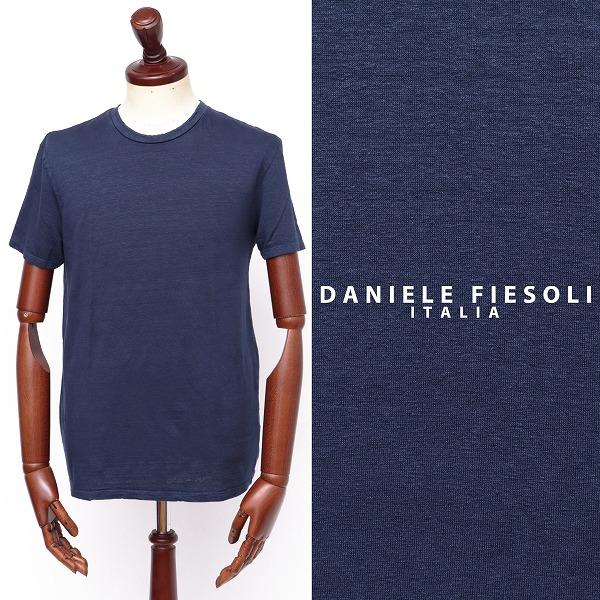 評価 ダニエルフィエゾーリ DANIELE 新商品!新型 FIESOLI リネン 半袖 ニット 100 df7320-bu 返品不可 ブルー カットソー