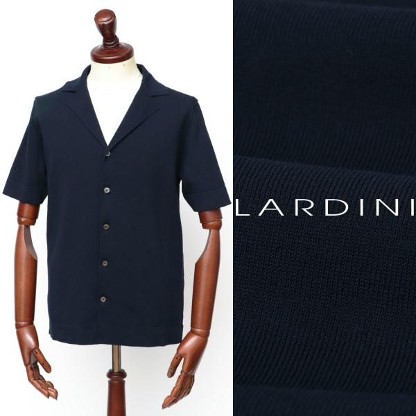 LARDINI / ラルディーニ / コットン / ミラノリブ / 開襟 / 半袖シャツ / ネイビー eg52019-na 100