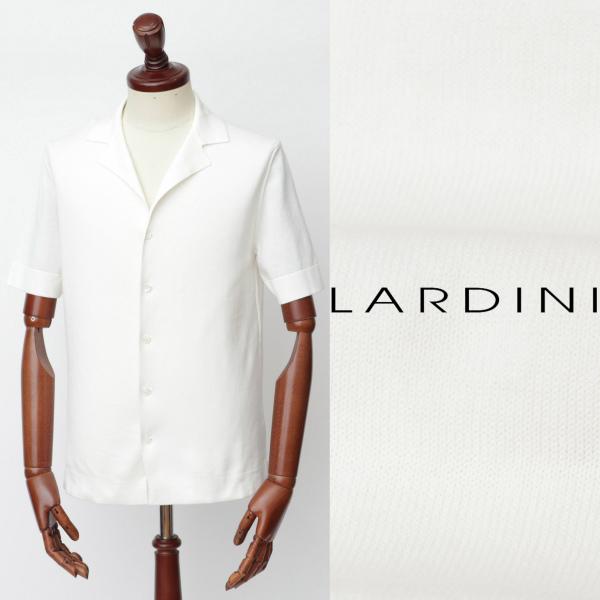 LARDINI / ラルディーニ / コットン / ミラノリブ / 開襟 / 半袖シャツ / ホワイト eg52019-w 100