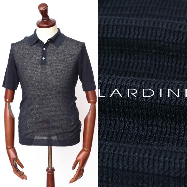 LARDINI / ラルディーニ / リネン / ジャガード / ポロシャツ / ネイビー eg52025-na 100 【返品不可】