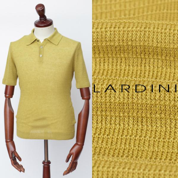 LARDINI / ラルディーニ / リネン / ジャガード / ポロシャツ / イエロー eg52025-ye 100 【返品不可】
