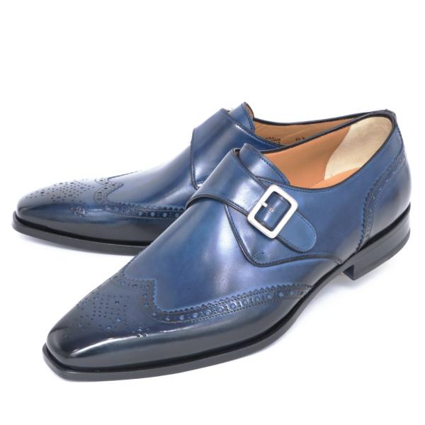 フランチェスコ・ベニーニョ / FRANCESCO BENIGNO / ウイングチップ / シングルモンクストラップ / レザーシューズ / 革靴 / ブルー g4638-bu 100 【返品不可】