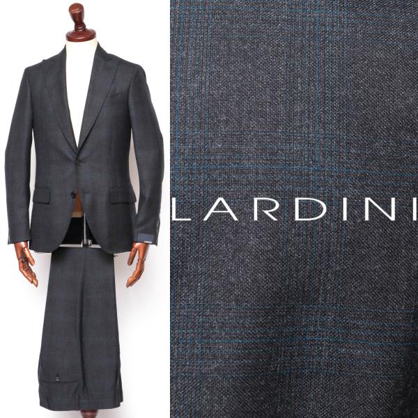 LARDINI / ラルディーニ / ウール / グレンチェック柄 / ピークドラペル / ワンプリーツ / スーツ / チャコールグレー ilrp53496-cgy 100