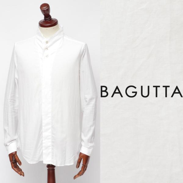 Bagutta / バグッタ / ライトフランネル / コットン / 変形ハイネック / シャツ / ホワイト neckebl-w 100 【返品不可】