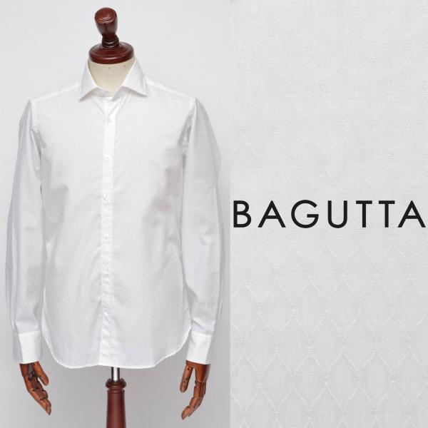 Bagutta / バグッタ / バスケット織 / ダイヤ柄 / コットン / ワイドカラー / シャツ / BERLINC / ホワイト berlinogbl-w 100 【返品不可】