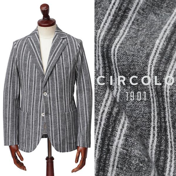 CIRCOLO 1901 / チルコロ1901 / コットン / ストライプ柄 / ストレッチ / ジャージ / 2B / シングル / ジャケット / ブラック × グレー 0104260417-bl 100