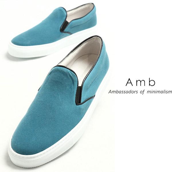 エーエムビー / Amb / OILED CLOTH / ハリー / スティーブンソン社製 / オイルドコットン生地 / スリッポン / BLUE ブルー 2000foiled-bu 100