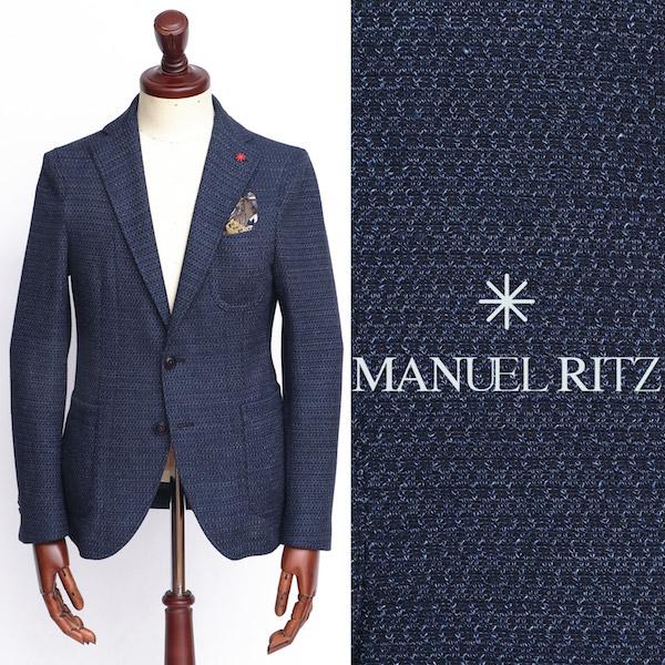 Manuel Ritz / マニュエル・リッツ / コットン×リネン / 2B / シングル / ジャケット / ブルー 2832g2571-bu 100