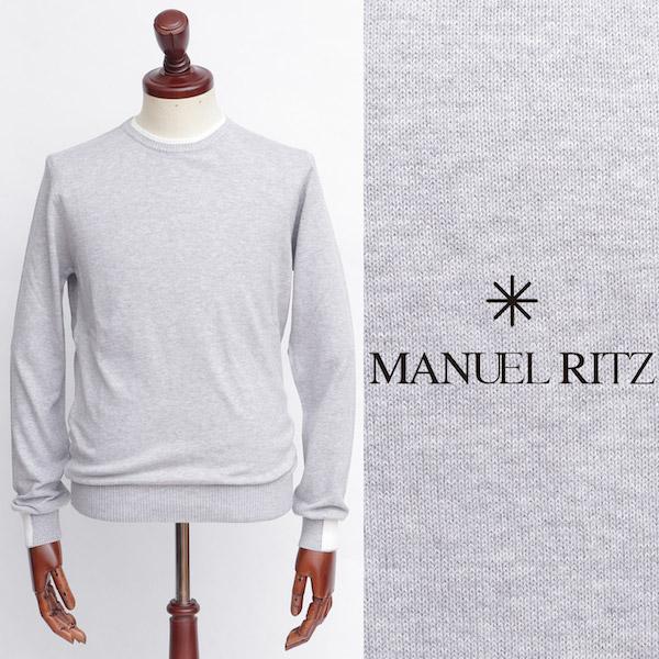 Manuel Ritz / マニュエル・リッツ / コットン / クルーネック / ニット / グレー 2832m500-gy 100