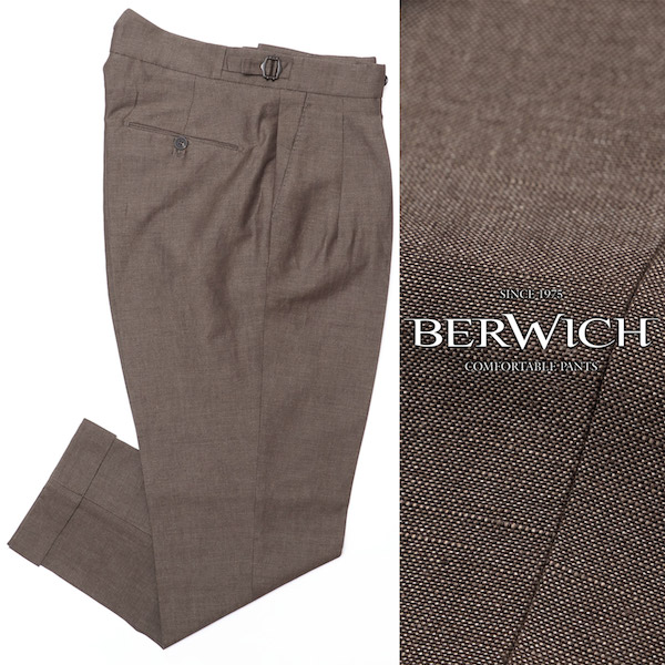 BERWICH / ベルウィッチ / SCOTCH / リネンコットン / 2プリーツ / サイドアジャスター / クロップド / キャロット / パンツ / ブラウン an122-br 100