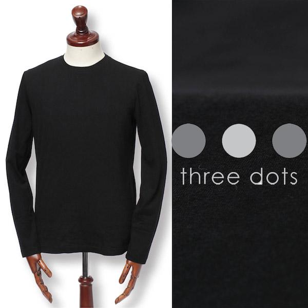 スリードッツ / three dots / sanded jersey crew neck / サンデッドジャージー / ロングスリーブ / クルーネック / カットソー / ブラック bo257my-bl 100