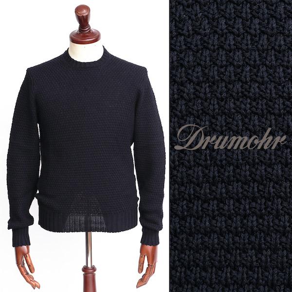 Drumohr / ドルモア / コットン / クルーネック ニット / ブラック d5cb464-bl 100