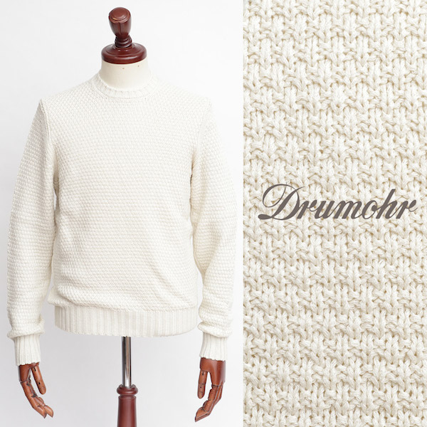 Drumohr / ドルモア / コットン / クルーネック ニット / ホワイト d5cb464-w 100
