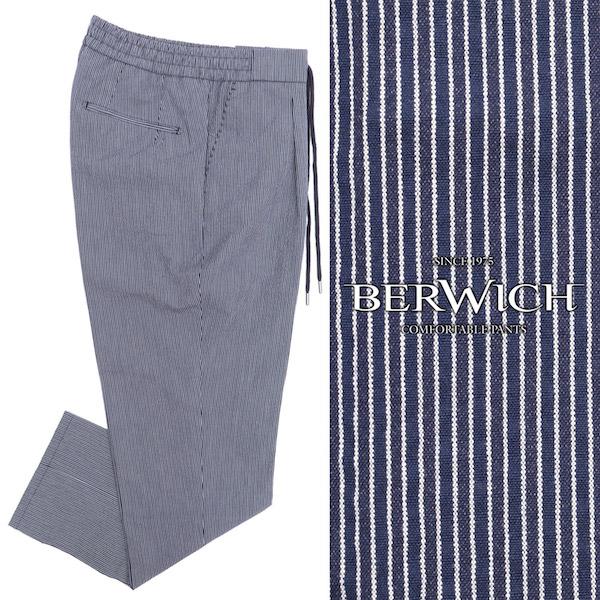 BERWICH / ベルウィッチ / SAKE 1P GYM / コットン / 1プリーツ / ストライプ / パンツ / ネイビー sake1gsb1352x-stripe 100