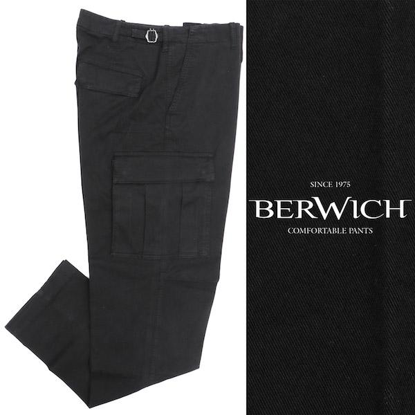 BERWICH / ベルウィッチ / CARGO-T / コットン / ワイド / カーゴ / パンツ / ブラック wcargots0001x-bl 100