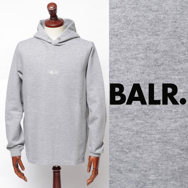 ボーラー / BALR / Q-SERIES CLASSIC HOODIE / プレートロゴ / スウェット / パーカー / グレー × シルバー 126051335-gysv 100