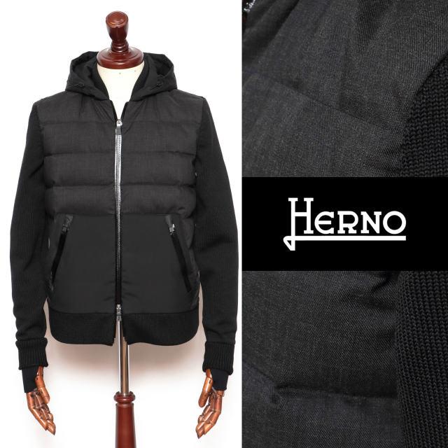 ヘルノ HERNO Laminar ニット X フランネル ハイブリッド ダウン ブラック 9300 mp001ul-bl 100