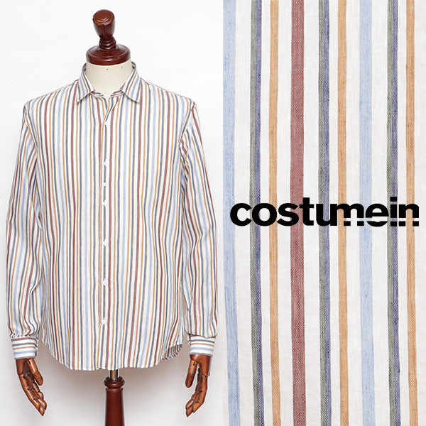 costumein コストメイン DOMENICO レギュラーカラー リネン シャツ マルチストライプ 010354034-wc 100