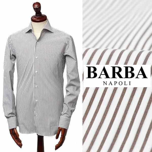 バルバ / BARBA / 【オールシーズンOK】 BRUNO - ブルーノ ホリゾンタルカラー ストライプ ドレスシャツ / ホワイト × ブラウン【送料無料】 i1u7320310040-white