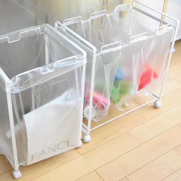 垃圾箱塔分辨灰尘手推车3分辨购物袋厨房解说员45L垃圾箱钢铁灰尘箱山崎实业简单细长的省空间乐天240147