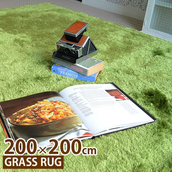 ラグ MERCROS メルクロス グラスラグ 200×200cm GRASSRUG 001042 ラグマット カーペット マット シャギーラグ 絨毯 芝生 正方形 おしゃれ 人気 インテリア リビング 床暖房 ホットカーペット 240147