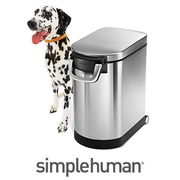 simplehuman シンプルヒューマン ペットフードカン ペット用品 CW1887 ステンレス ペットフードストッカー 密閉 密封 ペットフード 保存 餌入れ 大容量 おしゃれ オシャレ スリム キャスター ペット 犬 猫 スコップ付