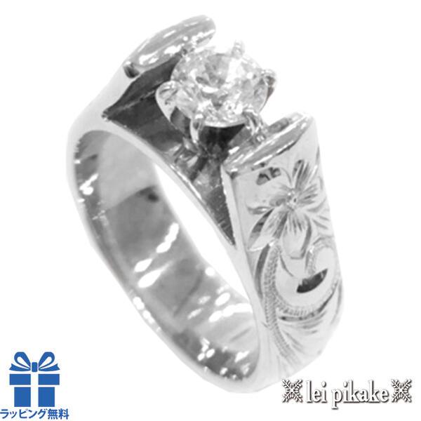 ハワイアンジュエリー エンゲージリング リング 《婚約指輪》 オーダーメイド ウェディングリング 14Kホワイトゴールド フレンチマウント ダイヤリング 幅6mm※オーダー内容により価格が異なります。 【送料無料】