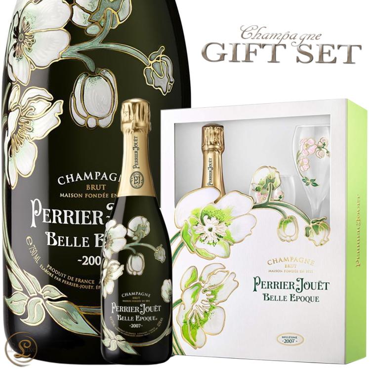 2007 ベル エポック ブラン ペリエ ジュエ グラスセット ギフトボックス シャンパン 辛口 白 750ml Perrier Jouet Belle Epoque gift pack 2007 Gift Set With Two Flutes