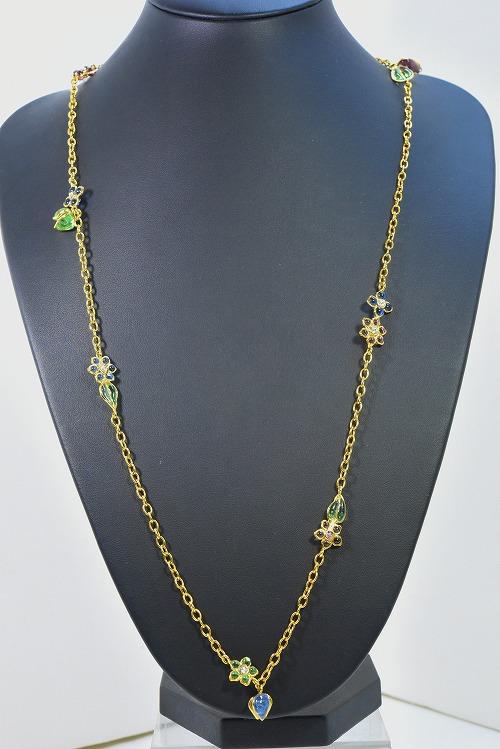 【セール商品★2】GRIPOIX Paris(グリポア パリ) 花とつぼみのパステルカラー ロングネックレス アクセッサリー レディース