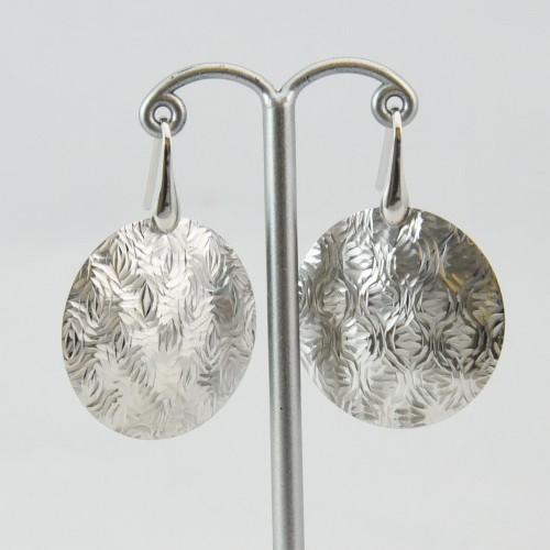 イタリア 円形シルバーピアス ランダムダイアモンドカット アクセサリー レディース パーティー おしゃれ プレゼント