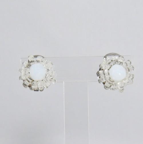 【中古】【未使用品】ヴィンテージ 乳白色のイヤリング アクセサリー レディース パリ インポート オールドガラス