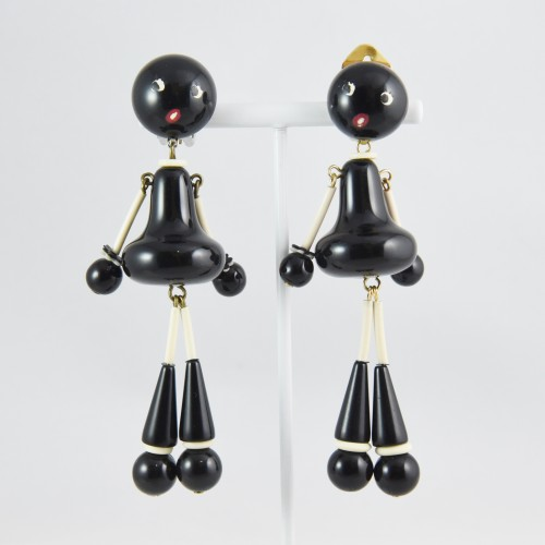 【中古】【非常に良い】ヴィンテージ 黒人形イヤリング アクセサリー レディース パリ インポート オールドプラスチック