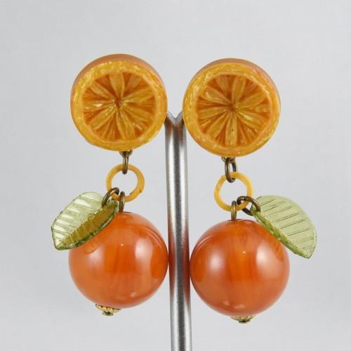 【中古】【未使用品】ヴィンテージ オレンジのイヤリング アクセサリー レディース パリ インポート オールドプラスチック