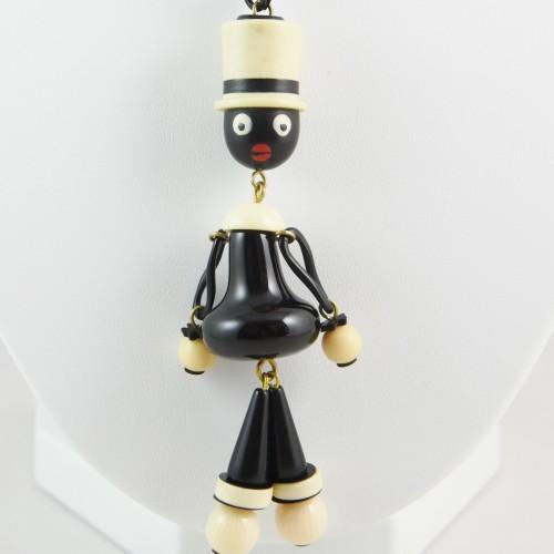 【中古】【未使用品】ヴィンテージ 白色ハットの人形ネックレス アクセサリー レディース パリ インポート オールドプラスチック