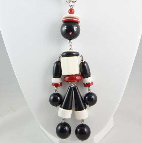 【中古】【未使用品】ヴィンテージ 赤白黒の人形ネックレス アクセサリー レディース パリ インポート オールドプラスチック