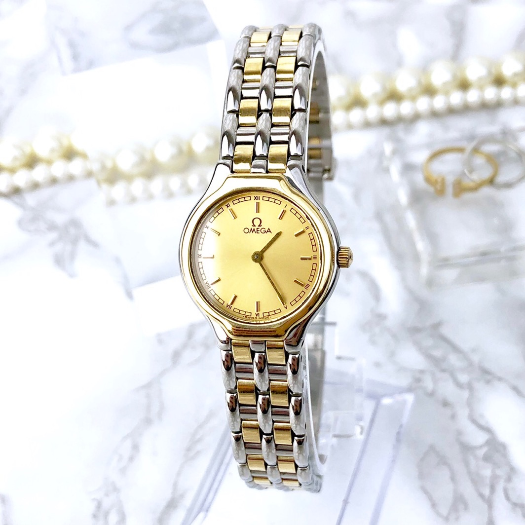 【仕上げ済】オメガ OMEGA シンボル コンビ K18 レディース 腕時計 時計【中古】【送料無料】
